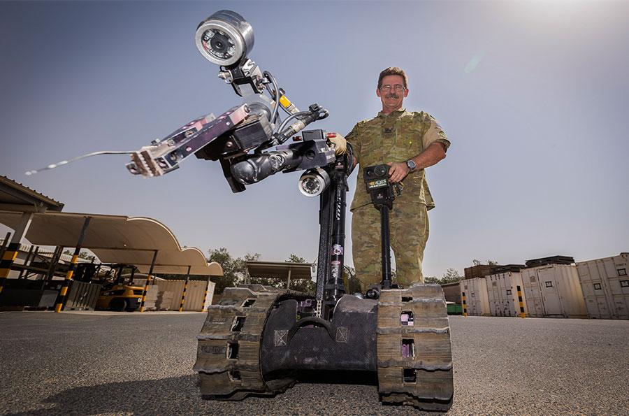 Talon Explosive Ordnance Disposal Robot at Australia's main operating base in Middle East Warrant-Officer-(WOFF)-Rodney-Amos_Talon-Robot_01